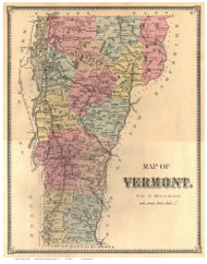 Vermont State Map 1869 - from the Windham Co. Beers Atlas - Old Map Reprint