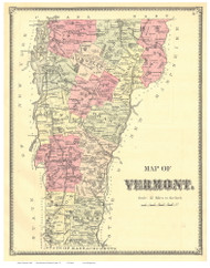Vermont State Map 1869 - from the Windsor Co. Beers Atlas - Old Map Reprint