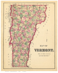 Vermont State Map 1871 - from the Addison Co. Beers Atlas - Old Map Reprint