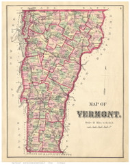 Vermont State Map 1871 - from the Franklin & Grand Isle Co. Beers Atlas - Old Map Reprint