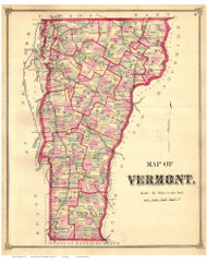 Vermont State Map 1873 - from the Washington Co. Beers Atlas - Old Map Reprint