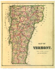 Vermont State Map 1877 - from the Orange Co. Beers Atlas - Old Map Reprint