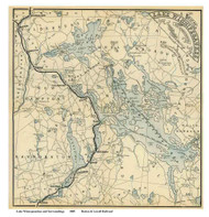 Lake Winnipesaukee, New Hampshire 1885 - Old Map Reprint