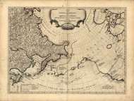 Russian Discoveries - North West Coast of America, 1768 - Old Map Reprint - USA Jefferys 1768 Atlas 4