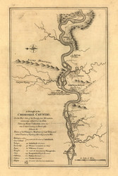 Cherokee Country - Tennessee River, 1762 - Old Map Reprint - USA Jefferys 1768 Atlas 38