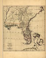 Florida from the Latest Authorities, 1763 - Old Map Reprint - USA Jefferys 1768 Atlas 39