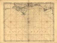 Pais Cedes part 1 - Coast of Louisiana and Florida, 1768 - Old Map Reprint - USA Jefferys 1768 Atlas 40