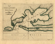 Pensacola - Harbour and Settlement, 1768 - Old Map Reprint - USA Jefferys 1768 Atlas 42b