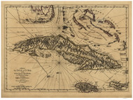 Cuba, with the Bahama Islands, Gulf of Florida, and Windward Passage, 1768 - Old Map Reprint - USA Jefferys 1768 Atlas 59