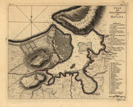 Havana - City and Harbour, 1768 - Old Map Reprint - USA Jefferys 1768 Atlas 60