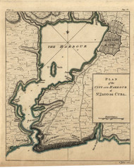 St. Jago de Cuba - City and Harbour, 1768 - Old Map Reprint - USA Jefferys 1768 Atlas 65