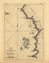Aguada Nueva, Puerto Rico, 1740 - Old Map Reprint - USA Jefferys 1768 Atlas 76