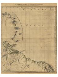 Carribean Islands and Guayana, 1768 - Old Map Reprint - USA Jefferys 1768 Atlas 77