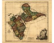 Guadaloupe Island - divided into Parishes, 1768 - Old Map Reprint - USA Jefferys 1768 Atlas 81