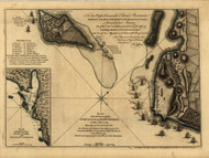 Attack on Fort Louis (now fort George), Guadaloupe, 1768 - Old Map Reprint - USA Jefferys 1768 Atlas 84