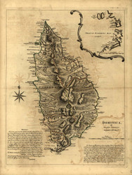 Dominica Island, 1768 - Old Map Reprint - USA Jefferys 1768 Atlas 85
