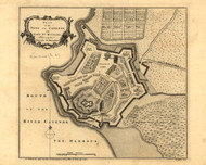 Town of Cayenne and Fort St Michael, 1768 - Old Map Reprint - USA Jefferys 1768 Atlas 92