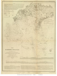 Hyannis Harbor, 1850 - Old Map Reprint - USA Regional 1854 Coast Survey