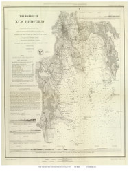 New Bedford Harbor, 1850 - Old Map Reprint - USA Regional 1854 Coast Survey