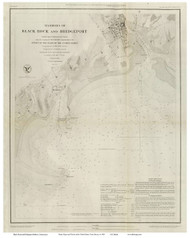 Black Rock and Bridgeport Harbors, 1848 - Old Map Reprint - USA Regional 1854 Coast Survey