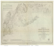 Captain's Island Harbors, 1849 - Old Map Reprint - USA Regional 1854 Coast Survey