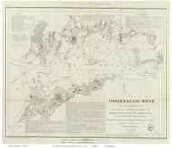 Fisher's Island, 1847 - Old Map Reprint - USA Regional 1854 Coast Survey