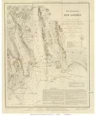 New London Harbor, 1848 - Old Map Reprint - USA Regional 1854 Coast Survey