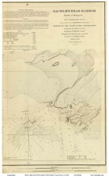 Sachem's Head Harbor, 1851 - Old Map Reprint - USA Regional 1854 Coast Survey