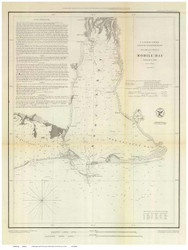 Mobile Bay, 1852 - Old Map Reprint - USA Regional 1854 Coast Survey