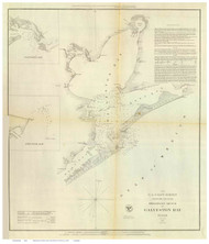 Galveston Bay, 1852 - Old Map Reprint - USA Regional 1854 Coast Survey