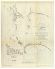 Santa Cruz, San Simeon, Coxo, and San Luis Obispo, 1852 - Old Map Reprint - USA Regional 1854 Coast Survey