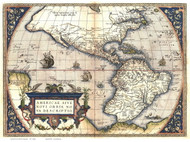 North and South America 1570 Old Map Reprint - Ortelius