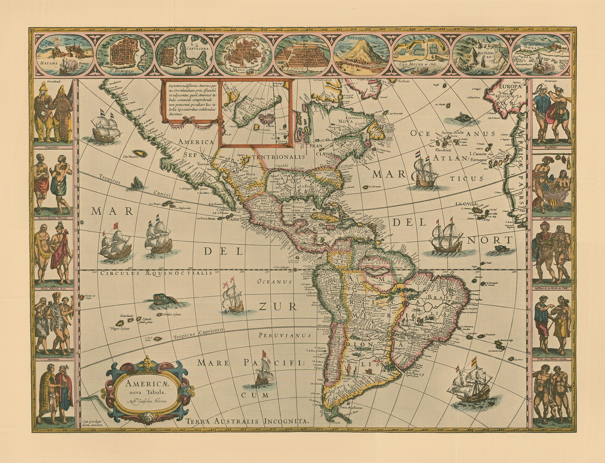 Old Map Of America North and South America ca 1690 Old Map Reprint   Visscher   Penn
