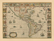 North and South America ca 1690 Old Map Reprint - Visscher - Penn Print