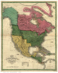 North America 1826 Old Map Reprint - Vance