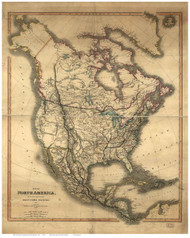 North America 1849 Old Map Reprint - Smith