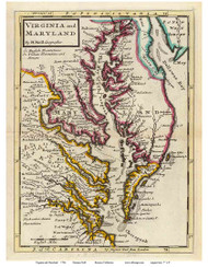 Chesapeake Bay 1736 - Moll - Old Map Reprint