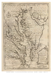 Chesapeake Bay 1747 - Bowen - Old Map Reprint