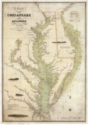 Chesapeake Bay 1840 - Lucas - Old Map Reprint
