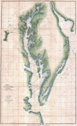Chesapeake Bay 1851 - Survey (Ggus) - Old Map Reprint