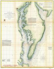 Chesapeake Bay 1855 - Preliminary Chart (Ggus) - Old Map Reprint