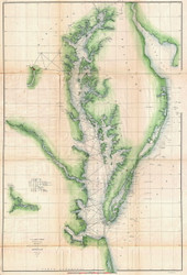 Chesapeake Bay 1855 - Survey (Ggus) - Old Map Reprint