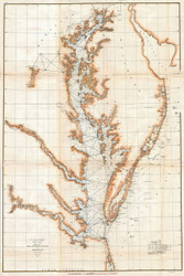 Chesapeake Bay 1857 - Survey (Ggus) - Old Map Reprint
