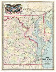Chesapeake Bay 1861 - Seat of War - Old Map Reprint