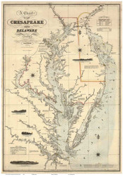Chesapeake Bay 1862 - Lucas - Old Map Reprint