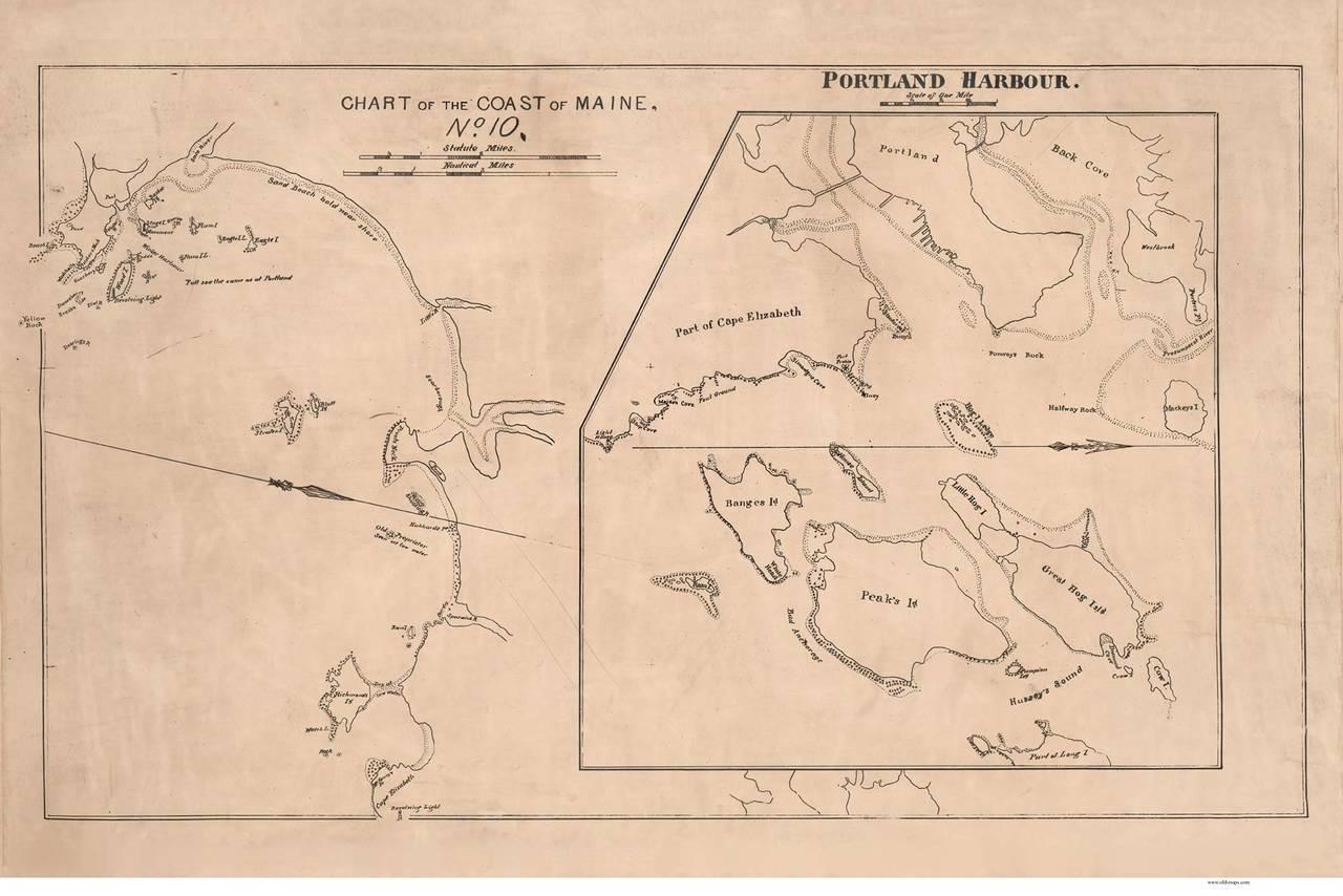 Portland Harbor 1837 - Old Map Reprint - Maine 1837 Coast Chart