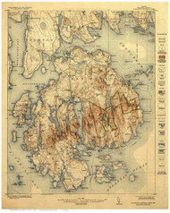 Acadia National Park, Maine Old Map Reprint 1922 (1928) - Cities Other