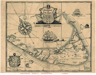 Nantucket 1921 Historical Map Austin Stevens - Old Map Reprint