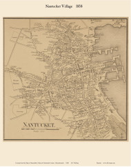 Nantucket Village 1858 Walling - Old Map Custom Print