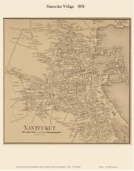 Nantucket Village 1858 Walling - Old Map Custom Print